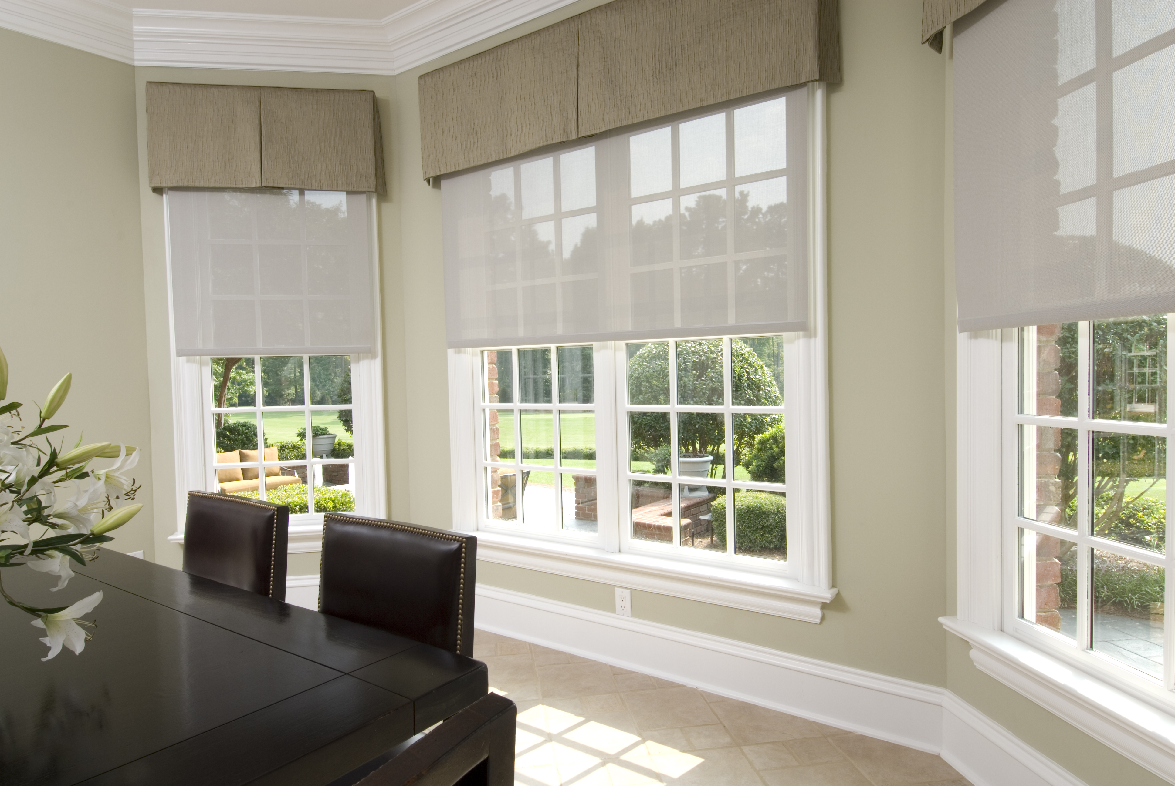 Commercial shades blinds window treatments at the home for Motorized shades home depot